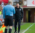 Ayr Utd Manager Mark Roberts complains to the assistant referee that he thought Kevin Kyle was fouled leading up to Dunfermline's first goal.
