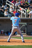 Pin-Chieh Chen (7) of the Tennessee Smokies at bat against the Birmingham Barons at Regions Field on May 3, 2015 in Birmingham, Alabama.  The Smokies defeated the Barons 3-0.  (Brian Westerholt/Four Seam Images)
