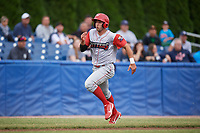Williamsport Crosscutters right fielder Matt Vierling (28) runs home during a game against the Batavia Muckdogs on June 22, 2018 at Dwyer Stadium in Batavia, New York.  Williamsport defeated Batavia 9-7.  (Mike Janes/Four Seam Images)