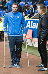 St Johnstone v Dundee…11.03.17     SPFL    McDiarmid Park<br />Chris Kane on crutches talks with physio Mel Stewart<br />Picture by Graeme Hart.<br />Copyright Perthshire Picture Agency<br />Tel: 01738 623350  Mobile: 07990 594431