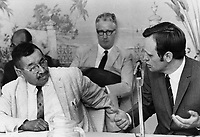 Indian affairs Minister Jean Chretien Chief wilmer nadjiwon<br /> <br /> Griffin, Doug<br /> Picture, 1969