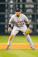 Detroit Tigers third baseman Miguel Cabrera (24) on defense during the MLB baseball game against the Houston Astros on May 3, 2013 at Minute Maid Park in Houston, Texas. Detroit defeated Houston 4-3. (Andrew Woolley/Four Seam Images).