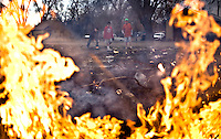 Trash is burned freely in Lodge Grass, MT on the Crow Indian Reservation, where a lack of police enforcement leaves the area subject to various crimes with little recourse.