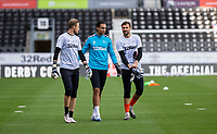 12th September 2020; Pride Park, Derby, East Midlands; English Championship Football, Derby County versus Reading; The Derby County Goalkeepers Henrich Ravas   Kelle Roos and David Marshall walking on the pitch to warm up before the match