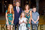 Farren Ní Dhálaigh from Tralee at her first holy communion in St Johns Church on Saturday.<br /> Ailbhe Ní Dhálaigh, Pa Daly, Fionn O'Dhálaigh and Mary Ross