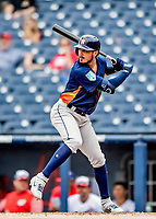 27 February 2019: Houston Astros infielder Josh Rojas in action against the Washington Nationals at the Ballpark of the Palm Beaches in West Palm Beach, Florida. The Nationals defeated the Astros 14-8 in their Spring Training Grapefruit League matchup. Mandatory Credit: Ed Wolfstein Photo *** RAW (NEF) Image File Available ***