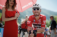 maglia rossa Giacomo Nizzolo (ITA/Trek-Segafredo) on the start line<br /> <br /> stage 17: Molveno-Cassano d'Adda 196km<br /> 99th Giro d'Italia 2016
