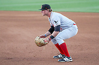 Great Lakes Loons first baseman Matt Jones (40) gets in position during a Midwest League game against the Wisconsin Timber Rattlers on April 26th, 2016 at Fox Cities Stadium in Appleton, Wisconsin.  Wisconsin defeated Great Lakes 4-3. (Brad Krause/Four Seam Images)