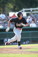 Colin Bray (3) of the Visalia Rawhide runs to first base during a game against the Inland Empire 66ers at San Manuel Stadium on June 26, 2016 in San Bernardino, California. Inland Empire defeated Visalia, 5-1. (Larry Goren/Four Seam Images)