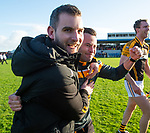 Ballyea manager Kevin Sheehan and mentor Barry Coffey celebrate following the county senior hurling final against Cratloe at Cusack Park. Photograph by John Kelly.