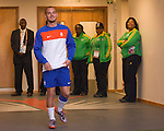 Netherlands' Wesley Sneijder enters the pitch during a soccer training session at the Gelvendale stadium in Port Elizabeth July 1, 2010. REUTERS/Michael Kooren (SOUTH AFRICA) ...
