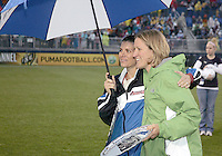 Mia Hamm and Siri Mullinix induction into the Washington Freedom Hall of Freedom at half time during a WPS match at the Maryland Soccerplex on May 3, 2009 in Boyds Maryland. The game ended in a 3-3 tie.