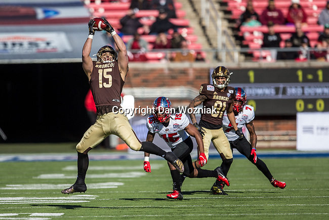 Western Michigan Broncos tight end Giovanni Ricci (15) in action during the Servpro First Responder Bowl game between Western Michigan Broncos and the Western Kentucky Hilltoppers at the gerald Ford Stadiuml Stadium in Dallas, Texas.