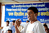Strength.  Ram Kumar Bhandari addresses family members and non-governmental organization members at the International Day of the Disappeared program.  Ram called for truth and reconciliation for family members., International Day of the Disappeared Program, Pokhara, Nepal