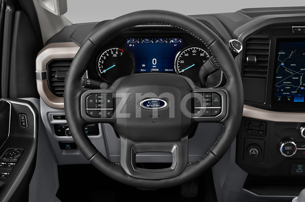 Car pictures of steering wheel view of a 2021 Ford F-150 XLT 4 Door Pick-up Steering Wheel