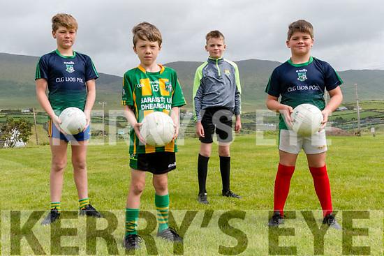 Padraig Ó Mainín, T.J. Ó hAiniféin, Setanta and Conrí Ó Brosnachain (Lios Póil) back training at Lios Póil Gaa grounds.