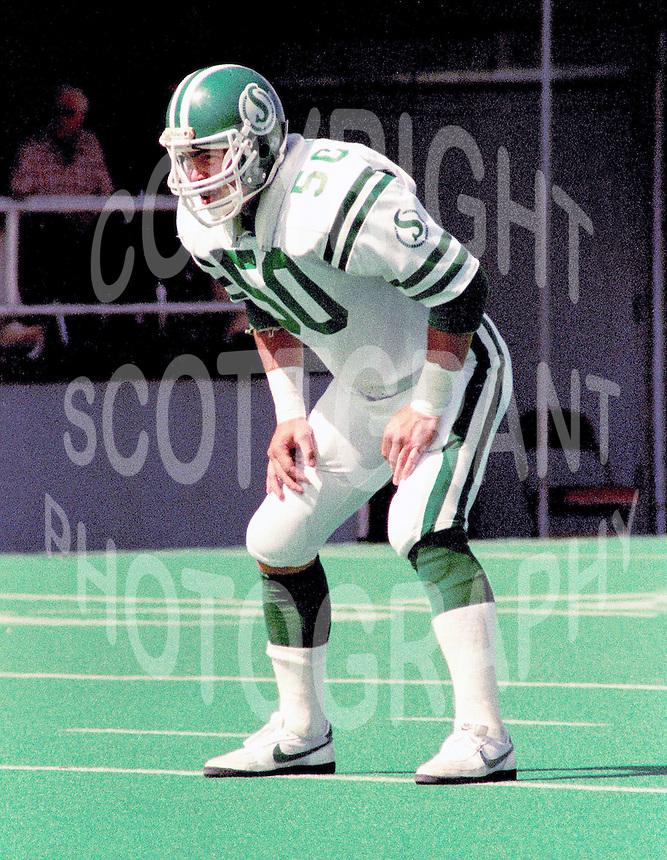 Jerry Friesen Saskatchewan Roughriders linebacker 1984. Copyright photograph Scott Grant