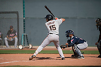 San Francisco Giants outfielder Franklin Labour (15) at bat during a Minor League Spring Training game against the Cleveland Indians at the San Francisco Giants Training Complex on March 14, 2018 in Scottsdale, Arizona. (Zachary Lucy/Four Seam Images)