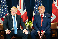President Donald J. Trump participates in a bilateral meeting with British Prime Minister Boris Johnson Tuesday, September 24, 2019, at the United Nations Headquarters in New York City. Vice President Mike Pence attends. (Official White House Photo by Shealah Craiughead)