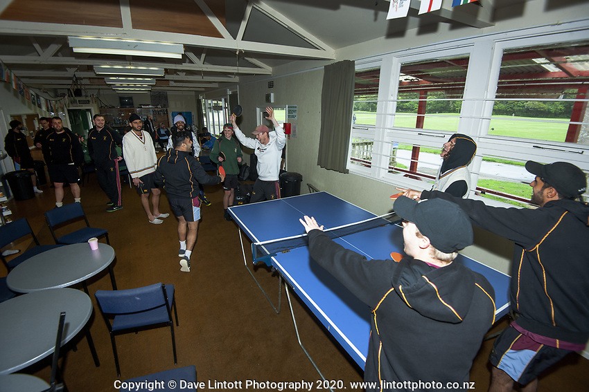 The teams play table tennis as rain delays play for the Ewen Chatfield One-day Trophy Wellington premier men's division one cricket match between Upper Hutt United and Onslow at Trentham Memorial Park in Upper Hutt, New Zealand on Saturday, 17 October 2020. Photo: Dave Lintott / lintottphoto.co.nz