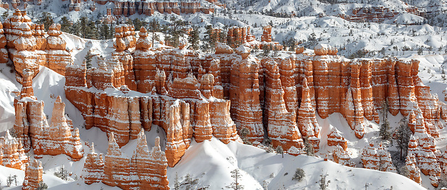 Fresh snow has fallen at Bryce Canyon National Park, Utah
