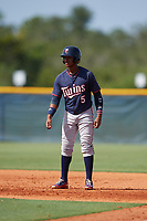 GCL Twins shortstop Agustin Marte (5) leads off first base during a game against the GCL Rays on August 9, 2018 at Charlotte Sports Park in Port Charlotte, Florida.  GCL Twins defeated GCL Rays 5-2.  (Mike Janes/Four Seam Images)