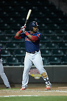 Kyri Washington (21) of the Salem Red Sox at bat against the Winston-Salem Dash at BB&T Ballpark on April 20, 2018 in Winston-Salem, North Carolina.  The Red Sox defeated the Dash 10-3.  (Brian Westerholt/Four Seam Images)