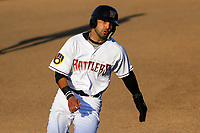 Wisconsin Timber Rattlers third baseman Gabriel Garcia (6) rounds third base during a game against the West Michigan Whitecaps on May 22, 2021 at Neuroscience Group Field at Fox Cities Stadium in Grand Chute, Wisconsin.  (Brad Krause/Four Seam Images)