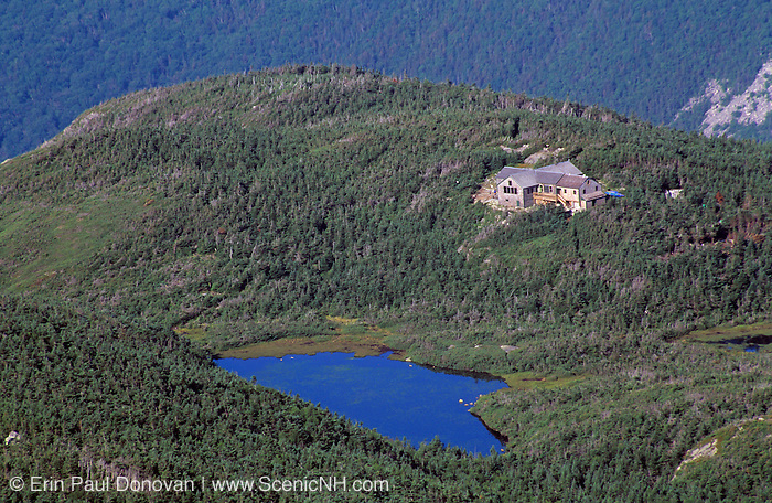 Appalachian Trail - Greenleaf Hut from North Lafayette in the White Mountains, New Hampshire. Eagle Lake is in the foreground.