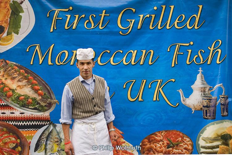 Hamid Amin and his new Morrocan Fish stall at Church Street Market.