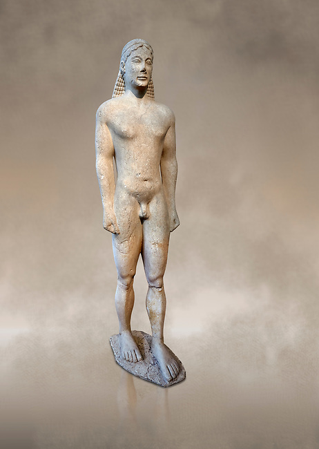 Naxian marble Ancient Greek Archaic statue of a kouros, found in Ptoan Apolla Sactuary, Boeotia, mid 6th cent BC, Athens National Archaeological Museum. Cat no 10.<br /> <br /> Tjhe soft modelling of the mid section of the body indicates that the statue comes from a Ctcladic workshop.