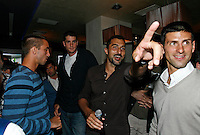 "Viktor Troicki, John Isner, Nenad Zimonjic, Novak Djokovic, Players Party, Novak restaurant, ATP 250 series tennis tournament ""Serbia Open"" in Belgrade, Serbia, Tuesday, April 26. 2011. (photo: Pedja Milosavljevic / SIPA PRESS)"