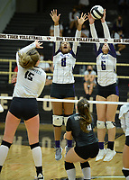 Fayetteville's Regan Haro (6) blocks a shot Tuesday, Sept. 15, 2020, by Bentonville's Reagan Tunnell (15) as Rosana Hicks (8) reaches to defend during play in Tiger Arena in Bentonville. Visit nwaonline.com/200916Daily/ for today's photo gallery. <br /> (NWA Democrat-Gazette/Andy Shupe)