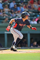 Catcher Jonathan Morales (8) of the Rome Braves in a game against the Greenville Drive on Sunday, July 31, 2016, at Fluor Field at the West End in Greenville, South Carolina. Rome won, 6-3. (Tom Priddy/Four Seam Images)