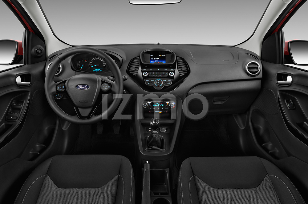 Stock photo of straight dashboard view of 2017 Ford KA+ Ultimate 5 Door Hatchback Dashboard