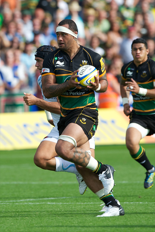 Samu Manoa of Northampton Saints during the Aviva Premiership match between Northampton Saints and Exeter Chiefs at Franklin's Gardens on Sunday 9th September 2012 (Photo by Rob Munro)