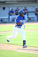 Johan Mieses (40) of the Rancho Cucamonga Quakes runs to first base during a game against the Inland Empire 66ers at LoanMart Field on September 6, 2015 in Rancho Cucamonga, California. Rancho Cucamonga defeated Inland Empire, 10-6. (Larry Goren/Four Seam Images)