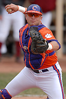Clemson catcher Spencer Kieboom prior to a game versus the Boston College Eagles at Shea Field in Boston, Massachusetts on April 16, 2011.  Photo by Ken Babbitt /Four Seam Images