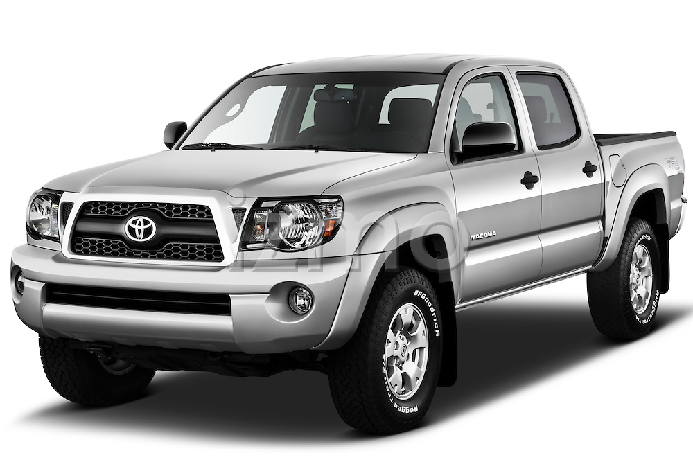 Front three quarter view of a 2011 Toyota Tacoma PreRunner Off Road Double Cab.