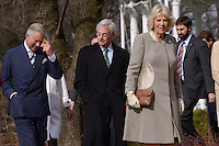 Washington, DC - March 19, 2015: Her Royal Highness The Duchess of Cornwall and The Prince of Wales (l) enter the grounds of the Abraham Lincoln Cottage in the District of Columbia, March 19, 2015, as part of a four-day USA visit. The royal couple are accompanied by Lester Fant III (c), Chairman of the Lincoln Cottage Site Counsel. (Photo by Don Baxter/Media Images International)