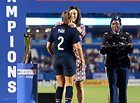 FRISCO, TX - MARCH 11: Mallory Pugh #2 of the United States receives her medal during a game between Japan and USWNT at Toyota Stadium on March 11, 2020 in Frisco, Texas.