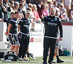 30.06.18 Linlithgow Rose v Hibs: Neil Lennon shouts at the linesman after Oli Shaw was ruled offside