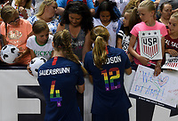 Sandy, Utah - Thursday June 07, 2018: Becky Sauerbrunn, Tierna Davidson during an international friendly match between the women's national teams of the United States (USA) and China PR (CHN) at Rio Tinto Stadium.