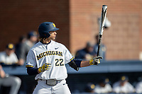 Michigan Wolverines outfielder Jordan Brewer (22) at bat against the San Jose State Spartans on March 27, 2019 in Game 1 of the NCAA baseball doubleheader at Ray Fisher Stadium in Ann Arbor, Michigan. Michigan defeated San Jose State 1-0. (Andrew Woolley/Four Seam Images)