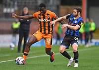 Hull City's Josh Emmanuel battles with Rochdale's Jimmy Ryan<br /> <br /> Photographer Dave Howarth/CameraSport<br /> <br /> The EFL Sky Bet League One - Rochdale v Hull City - Saturday 17th October 2020 - Spotland Stadium - Rochdale<br /> <br /> World Copyright © 2020 CameraSport. All rights reserved. 43 Linden Ave. Countesthorpe. Leicester. England. LE8 5PG - Tel: +44 (0) 116 277 4147 - admin@camerasport.com - www.camerasport.com