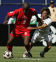 July 24, 2005: East Rutherford, NJ, USA:  USMNT defender Frankie Hejduk (2) tries to take the ball away from Felipe Baloy (5) of Panama during the CONCACAF Gold Cup Finals at Giants Stadium.