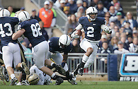 State College, PA - 10/15/2011:  Chaz Powell (2) uses his blocks to avoid the tackle attempts by the Purdue defenders while en route to a 92-yard kickoff return during the second half.  Penn State defeated Purdue by a score of 23-18 on October 15, 2011, homecoming, at Beaver Stadium...Photo:  Joe Rokita / JoeRokita.com..Photo ©2011 Joe Rokita Photography