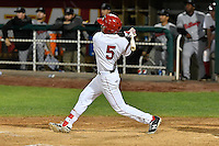L.J. Kalawaia (5) of the Orem Owlz hits a two run homer against the Billings Mustangs in Game 2 of the Pioneer League Championship at Home of the Owlz on September 16, 2016 in Orem, Utah. Orem defeated Billings 3-2 and are the 2016 Pioneer League Champions.(Stephen Smith/Four Seam Images)