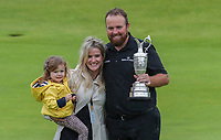 210719 | The 148th Open - Final Round<br /> <br /> Shane Lowry of Ireland celebrates with his wife Wendy Horner and daughter Iris and the Claret Jug.148th Open Championship at Royal Portrush Golf Club, County Antrim, Northern Ireland. Photo by John Dickson - DICKSONDIGITAL
