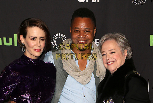 """HOLLYWOOD, CA - March 26: Sarah Paulson, Cuba Gooding Jr., Kathy Bates, At The Paley Center For Media's 34th Annual PaleyFest Los Angeles - """"American Horror Story: Roanoke""""  At The Dolby Theatre In California on March 26, 2017. <br /> CAP/MPI/FS<br /> ©FS/MPI/Capital Pictures"""